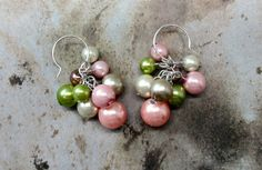 Pastel pearl cluster earrings bridesmaids earrings by MontanaMagic