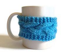 Blue Mug Cozy Coffee Cozy Coffee Sleeve Cup Cozy by MadebyMegShop, $15.00 #brightblue #cableknit #cabled #coffeesleeve #cupcozy #mugcozy