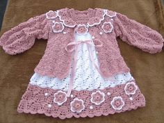 Crochet baby set – baby dress and a cute cardigan See other ideas and pictures from the category menu…. Faneks healthy and active life ideas Crochet Baby Dress Pattern, Baby Dress Patterns, Crochet Jacket, Crochet Patterns, Knitting Patterns, Baby Girl Crochet, Crochet Baby Clothes, Crochet For Kids, Easy Crochet