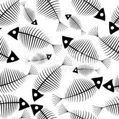 Pescado esqueleto seamless vector de papel tapiz vector de stock libre de derechos
