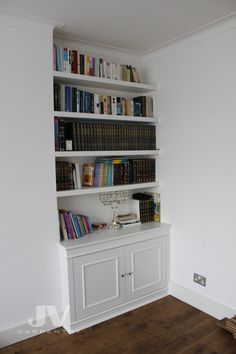23 Alcove Shelving Ideas for your Living room | JV Carpentry White Shelving Unit, Wall Shelving Units, Shelving Design, Shelving Ideas, Storage Ideas, Alcove Bookshelves, Alcove Shelving, White Bookshelves, Bookcases