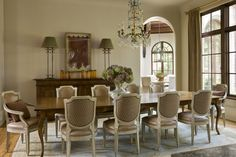 English Country - Harrison Design Table And Chairs, Side Chairs, Harrison Design, Walnut Kitchen, Natural Selection, Atlanta Homes, Dining Area, Dining Rooms, Large Windows