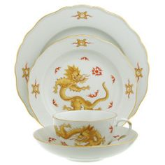 Meissen - Ming Dragon Yellow Gold Rim