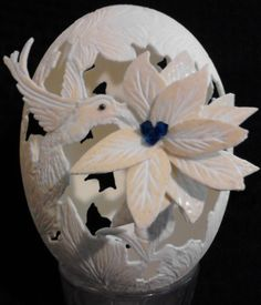 Ostrich Egg 3D 'Hummingbird and Flower' by EggsquisiteCarvings