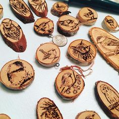 Another snapshot of my wood burnt ornaments #rusticchristmas #nashville #nashvilleartist #woodworking #woodburning