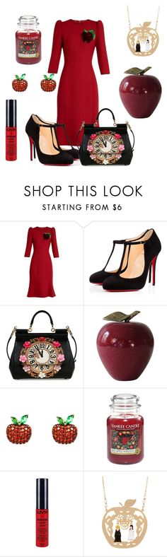 """""""Red apple 🍎"""" by subvilli ❤ liked on Polyvore featuring Dolce&Gabbana, Christian Louboutin, Latelita, Yankee Candle and NYX"""