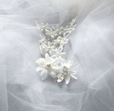 Ivory Flowers Bobby Pins with Pearls and Wedding by flowershair, Set of 14 Bobby Pins, wedding shoe clips. $20.00