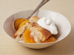 Paula Dean's Peach Cobbler.   I made it and it was delicious! If I can make it, anyone can.