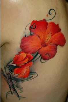New Hairstyle 2014: Hibiscus tattoo design ideas / hibiscus tattoos / hibiscus body tattoos / flower tattoo ideas / body tattoo ideas / colour girl tattoo ideas jon -like the color