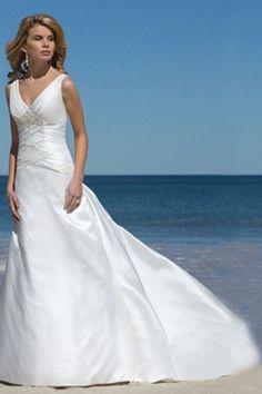 Hot Selling Wedding Dresses A Line V Neck Taffeta