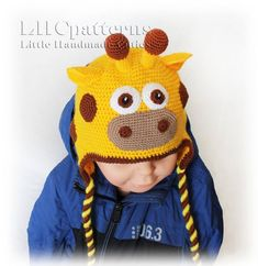 Most recent Pictures Crochet Hat earflap Style It is important to comprehend various amounts of crocheting, just like the rest there exists an area Crochet Giraffe Pattern, Crochet Baby Hat Patterns, Crochet Baby Hats, Baby Patterns, Crochet Hat Earflap, Crochet Alphabet, Interchangeable Knitting Needles, Christmas Hat, Girl With Hat
