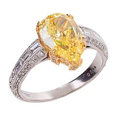 Fancy Intense Yellow Diamond White Diamond Gold & Platinum Ring
