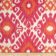 Jaclyn Smith Ikara Blend Redbud from @fabricdotcom  Screen printed on a linen/rayon blend this medium/heavyweight fabric is very versatile and perfect for window treatments (draperies, valances, curtains, and swags), pillow shams, duvet covers, toss pillows and upholstery. Colors include orange, coral hot pink and ivory. This fabric has 36,000 double rubs.