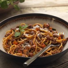Try this quick spaghetti bolognese recipe, made with Quorn Meat Free Mince, mushrooms, and onion in a delicious tomato sauce.