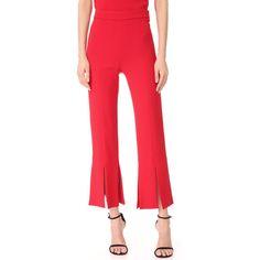 Cushnie Et Ochs Cropped Pants with Slits at Hem ($795) ❤ liked on Polyvore featuring pants, capris, red trousers, cropped trousers, red crop pants, cuffed pants and high-waisted pants