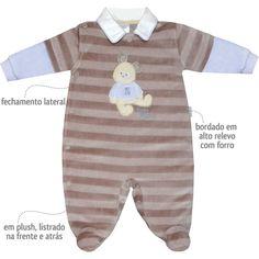 Macacão em Plush Listrado para Bebê Menino Bege - Sonho Mágico :: 764 Kids | Roupa bebê e infantil