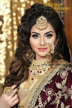 Most Awesome Arabian Wedding Make Up Inspirations - Wedding Inspire Pakistani Bridal Makeup, Bridal Eye Makeup, Bride Makeup, Bridal Beauty, Bridal Hair, Indian Wedding Bride, India Wedding, Muslim Wedding Dresses, Pakistani Wedding Outfits