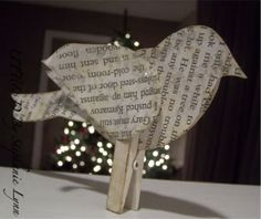 Bird Craft using old book pages or newsprint