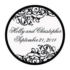 Personalized Black & White Wedding Favor Stickers - OrientalTrading.com