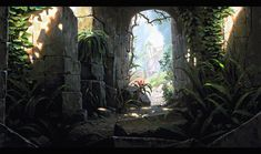 Temple Exit by UnidColor on DeviantArt Fantasy Art Landscapes, Fantasy Landscape, Landscape Art, Environment Concept, Environment Design, New Fantasy, Fantasy World, Sci Fi Background, Thing 1