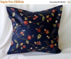 Clearance Floral Decorator Print on Dark Blue by debupcycles