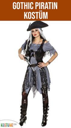 Piratenbluse Piratenhemd für Damen Schwarz Piratenbraut Bluse Piratin Outfit S