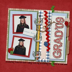 I have a number of folks on my creative team who don't have kids of grandkids. SarahWhithers solved the problem by scrapping these photos of her taken when she graduated from college! She used one of our Flash Pages: The Wheels on the Bus templates for this layout.