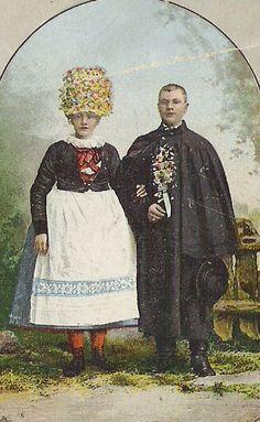 Jihlavský kroj. Ženich a nevěsta./ Iglauer Volkstracht. Brautpaar.