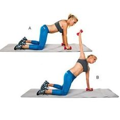 Back-Hand Press: Start on all fours, with a 3-pound weight in each hand (A). Bend right elbow slightly, then extend arm straight up and slightly away from body (B). Do 30 to 40 reps; switch sides.