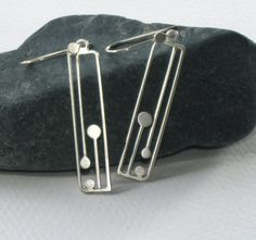 Sterling Silver Architectural Dangle Earrings / Art by ajcdesign, $50.00