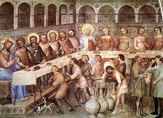 tréteaux mi-XIVe Les Noces de Cana, Giusto de Menabuoi, Padoue, Baptistère