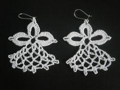 Angel Earrings, Handmade Crochet