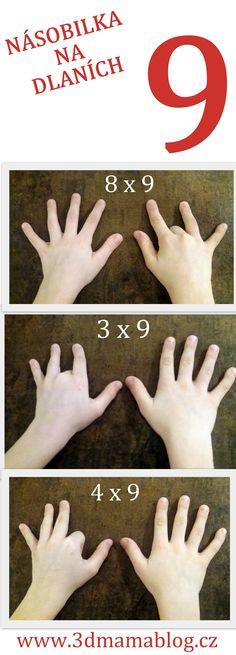 Násobení devítkou na dlaních #matematika #děti #násobilka #ruce #dlaně #tip3dmamablog
