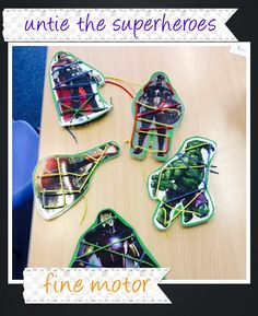 The children loved 'saving' the superheroes and being the bad guy, tying them up again! Good for fine motor skills. Super Hero Activities, Eyfs Activities, Motor Skills Activities, Fine Motor Skills, Superhero Preschool, Superhero Classroom, Toddler Classroom, Hero Crafts, Finger Gym
