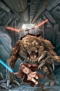 Obi-Wan Kenobi chased by Asajj Ventress on a rancor - by Jan Duursema and Brad Anderson