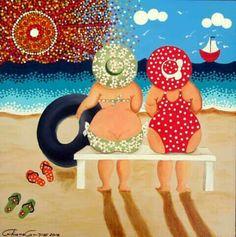 try to paint this?- try to paint this? try to paint this? Tableau Pop Art, Plus Size Art, Fat Art, Illustration Art, Illustrations, Art Impressions, Mermaid Art, Whimsical Art, Beach Art