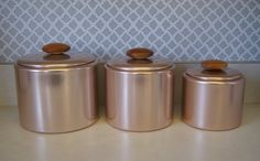 Vintage 1950u0027s Mirro Pink Aluminum Canister Set