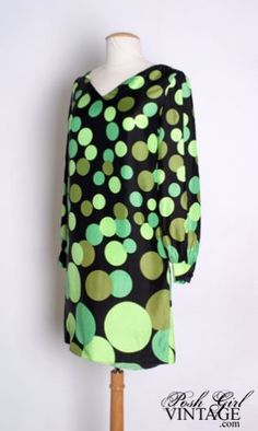 1960's vintage Mod dress with green polka dots.
