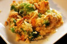 BROCOLLI CHKN CASSEROLE: 8 oz bag broccoli  4 chkn tenderloins  1.5 cups grated sharp cheese  1 can cream of chkn  1/2 sleeve ritz crackers  1 cup rice  3/4 cup milk  2 tbsp melted butter.