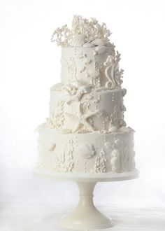 18 Cake Ideas For Beach Theme Wedding Party – Cheap Unique Ceremony Day Ivory Wedding Cake, Wedding Cake Stands, Unique Wedding Cakes, Gorgeous Cakes, Pretty Cakes, 18th Cake, Beach Cakes, Fancy Cakes, Cake Creations