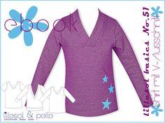 Schnittmuster / Ebook lillesol basic No.51 Shirt mit V-Ausschnitt/Nähen Pulli mit V-Ausschnitt/ pdf sewing pattern Shirt with V-Neck