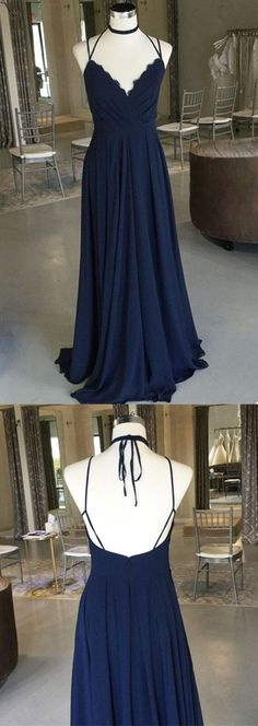 Navy Blue V Neck Chiffon Bridesmaid Dress Floor Length Party Dress With Ruched Bodice P2035