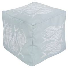 """Showcasing a fish motif in sky blue and ash gray, this eye-catching indoor/outdoor pouf lends nautical appeal to your living room or patio.    Product: PoufConstruction Material: PolyesterColor: Sky blue and ash greyFeatures: Suitable for indoor and outdoor useDimensions: 18"""" H x 18"""" W x 18"""" DCleaning and Care: With a dry cotton towel or white paper towel, blot out stain as much as possible. Scrape off any debris.  Blot area with a dry towel."""