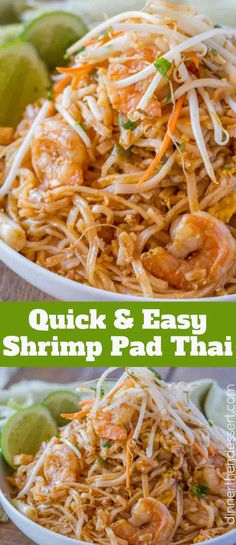 Easy Pad Thai with Shrimp, tofu, rice noodles, and peanuts in a quick sauce made from fish sauce, sugar, crushed red pepper and vinegar in less than 30 minutes. Skip the delivery! | #thai #thaifood #padthai #easypadthai #padthainoodles #thainoodles #shrimppadthai #dinnerthendessert #padthairecipe #asianfood #copycat #asiantakeout #mallfood #shrimp #shrimprecipe #shrimppasta #chinesefood #japanesefood