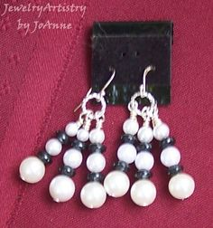 Earrings  Handcrafted White Black and Silver  by JewelryArtistry, $16.00