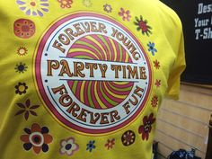 #Forever #young #forever #fun - check this beautiful print with lots of #flowers - it's a #party #time! Make your own party and come to us to print your t-shirts. #customprint #customprinting #tshirt #foreveryoung #partytime #tshirtdesign #tshirtprint #tshirtprinting #savagelondon #yellowtshirt