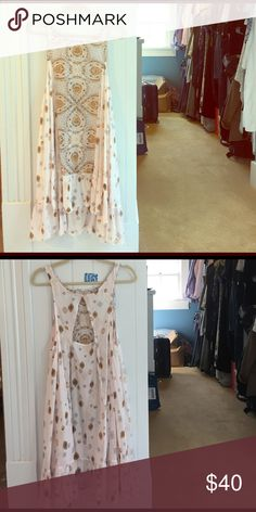 Free People flowy printed boho summer dress New with tags, Intimately Free People cream colored dress with boho print.  Slightly sheer, high low hem, with cutout at back. Free People Dresses High Low