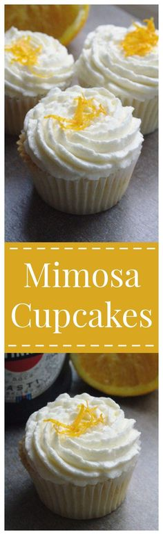 Mimosa Cupcakes – All of your favorite mimosa flavors in a cupcake! A fluffy orange champagne cupcake topped with a light buttercream frosting! Perfect for a party or dessert tonight! (cookie in a cup buttercream frosting) Best Dessert Recipes, Cupcake Recipes, Easy Desserts, Baking Recipes, Delicious Desserts, Cupcake Cakes, Fruit Cupcakes, Cupcake Ideas, Cup Cakes