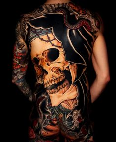 Japanese back tattoo by Back Tattoos For Guys, Full Back Tattoos, Skull Sleeve Tattoos, Body Art Tattoos, Badass Tattoos, Cool Tattoos, Tatoos, Japanese Back Tattoo, Mayan Tattoos