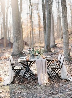 organic woodsy reception - photo by Bonnie Sen Photography http://ruffledblog.com/intimate-vow-renewal-in-the-woods